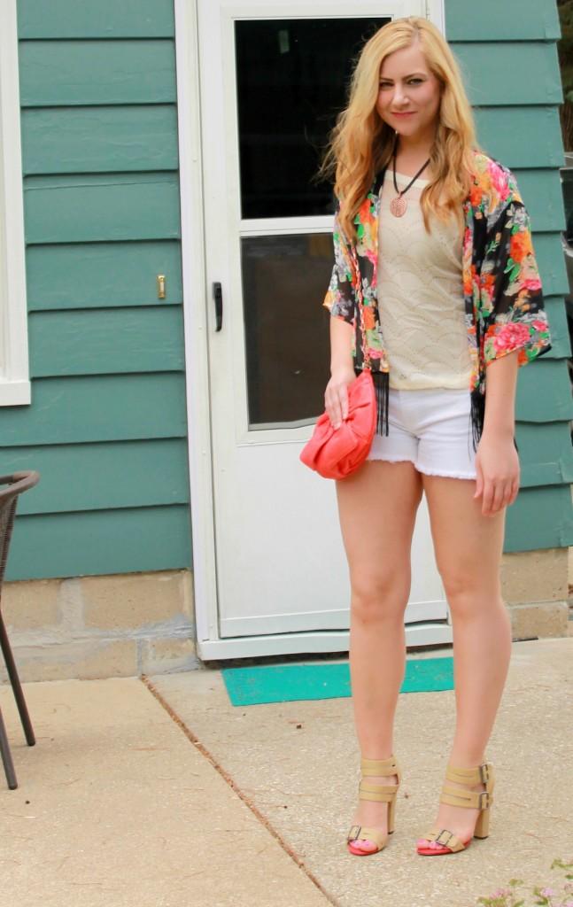 Floral kimono + white shorts + beige heels