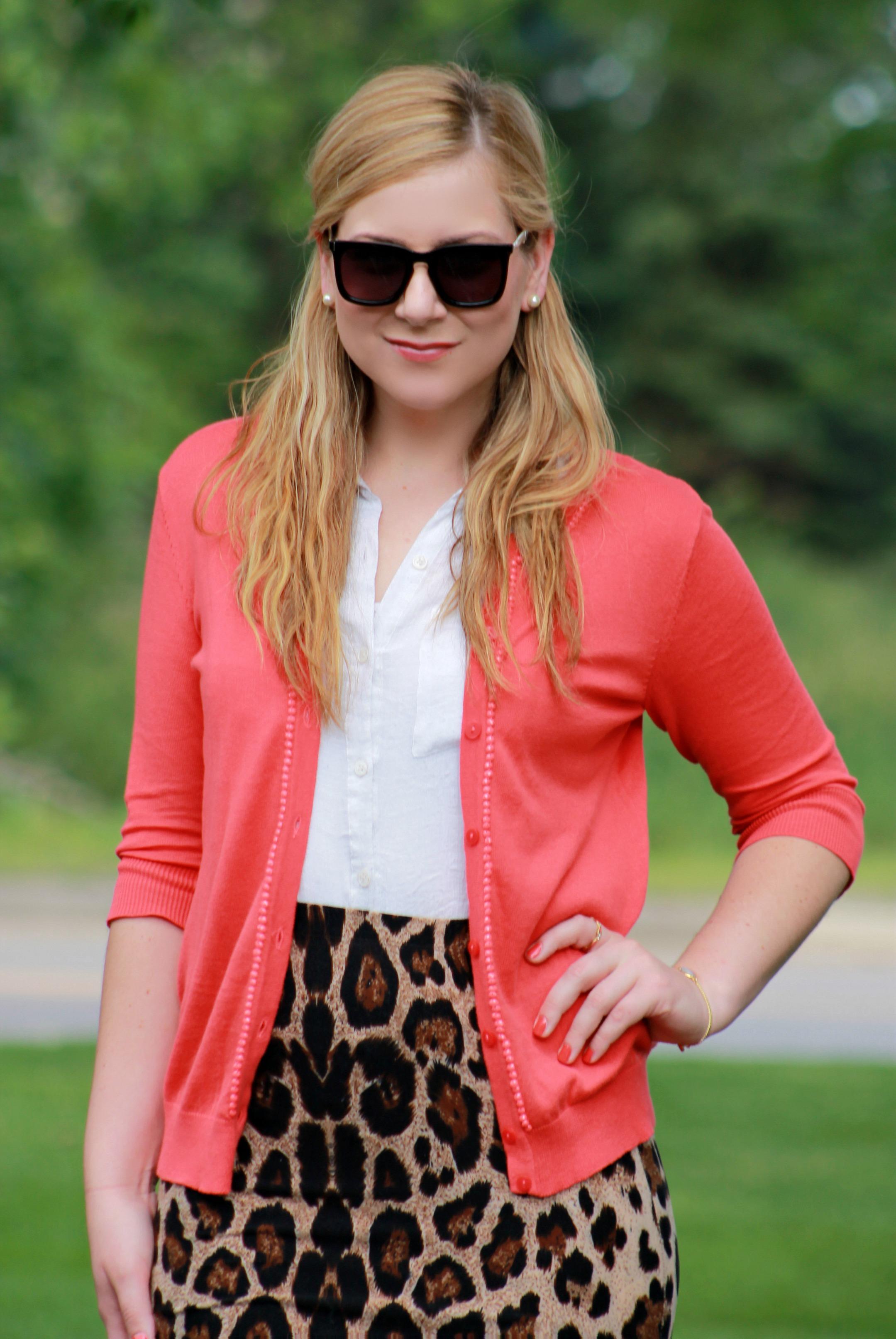 Leopard Print Skirt + Coral Cardigan