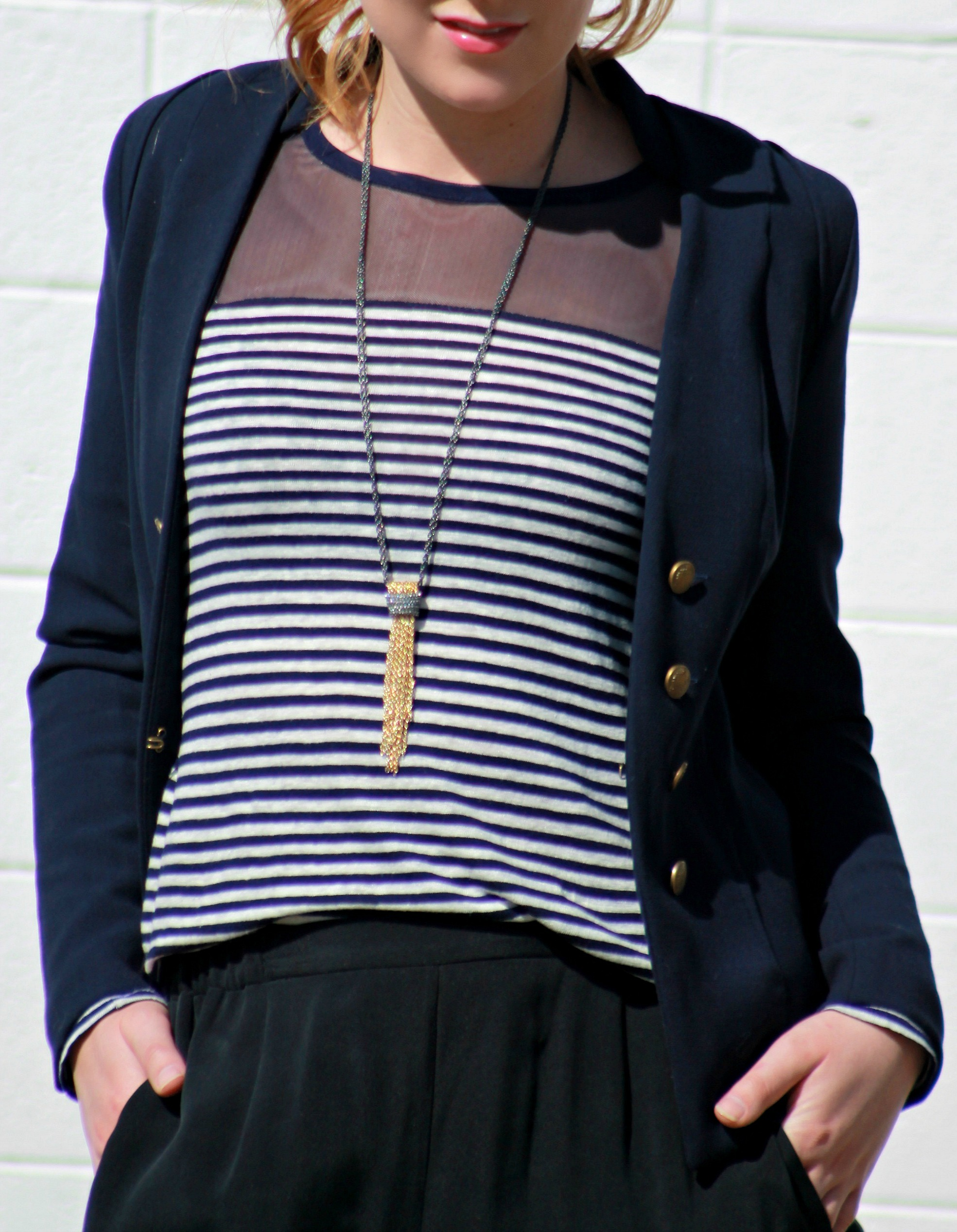 Navy Striped Mesh Shirt + Navy Blazer + Tassel Necklace