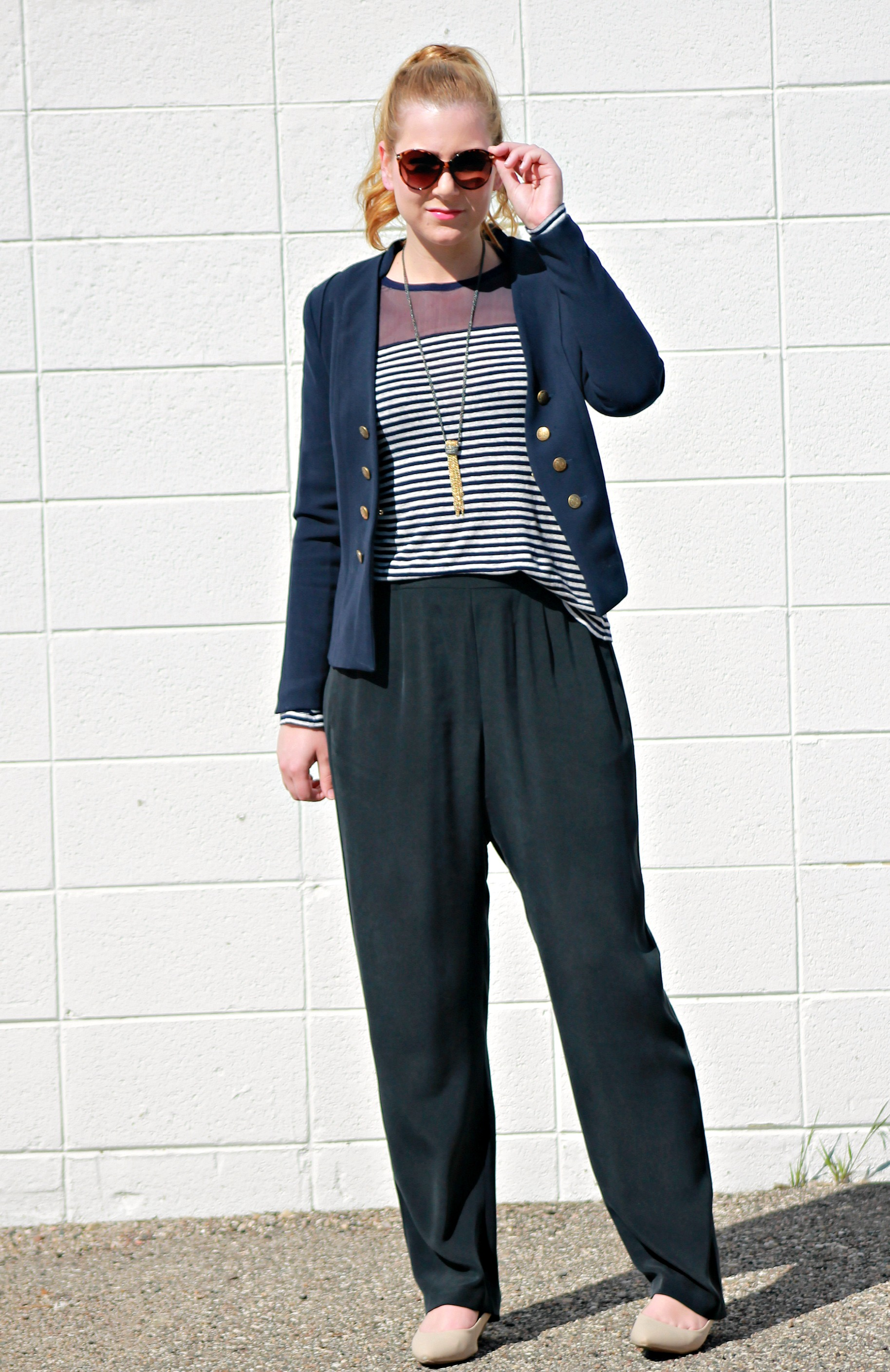 Navy Striped Shirt + Navy Blazer + Tassel Necklace + Silk Trousers