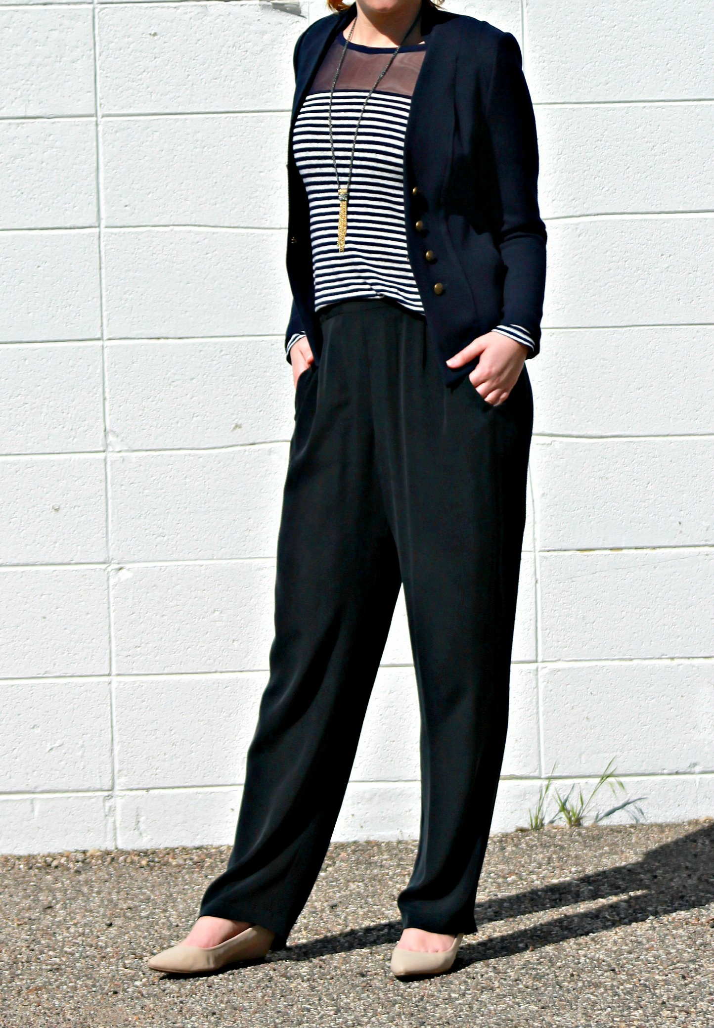 Wide Leg Trousers + Striped Shirt + Navy Blazer