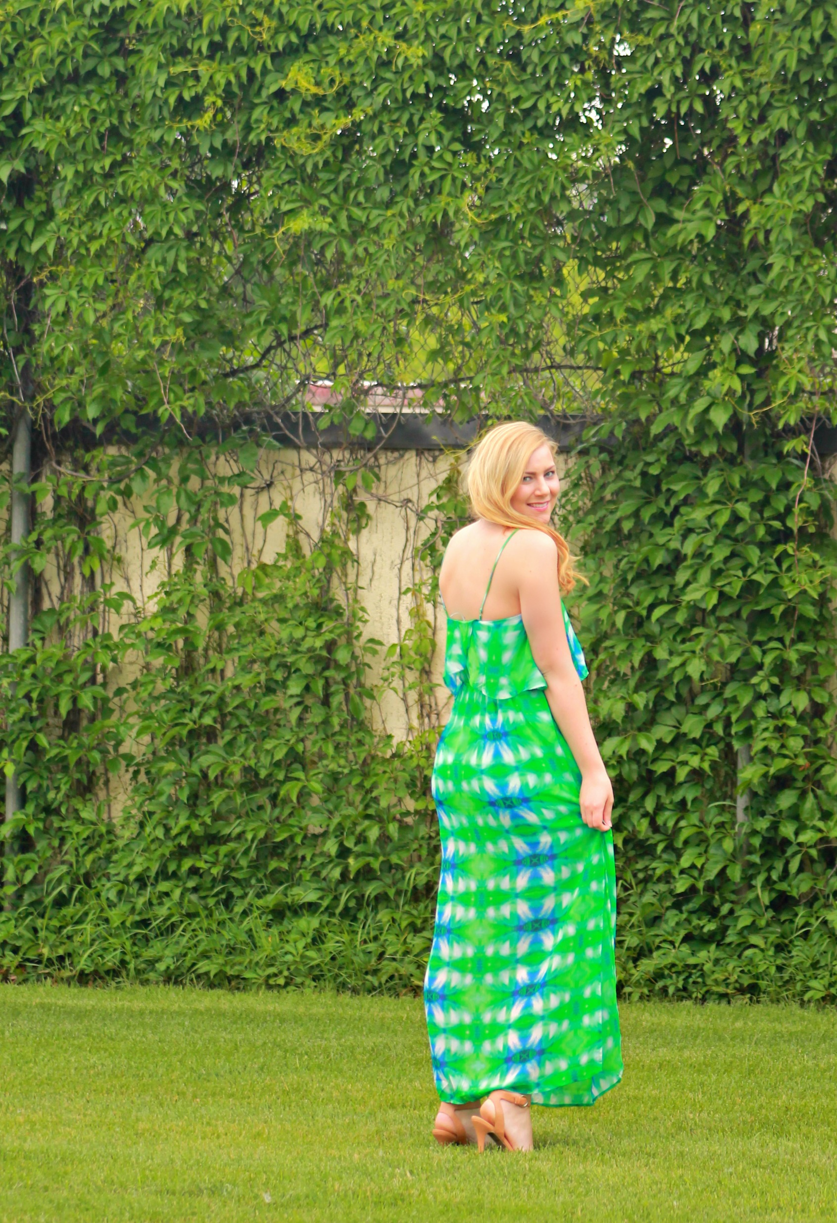green and blue maxi dress