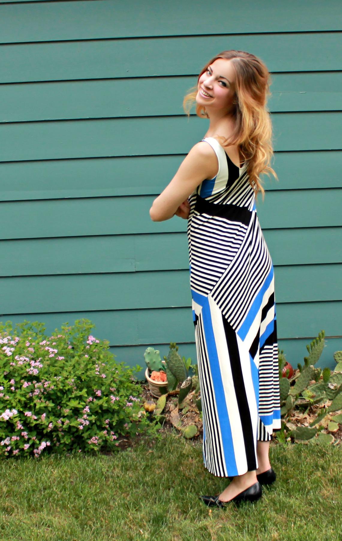 striped maxi dress at work