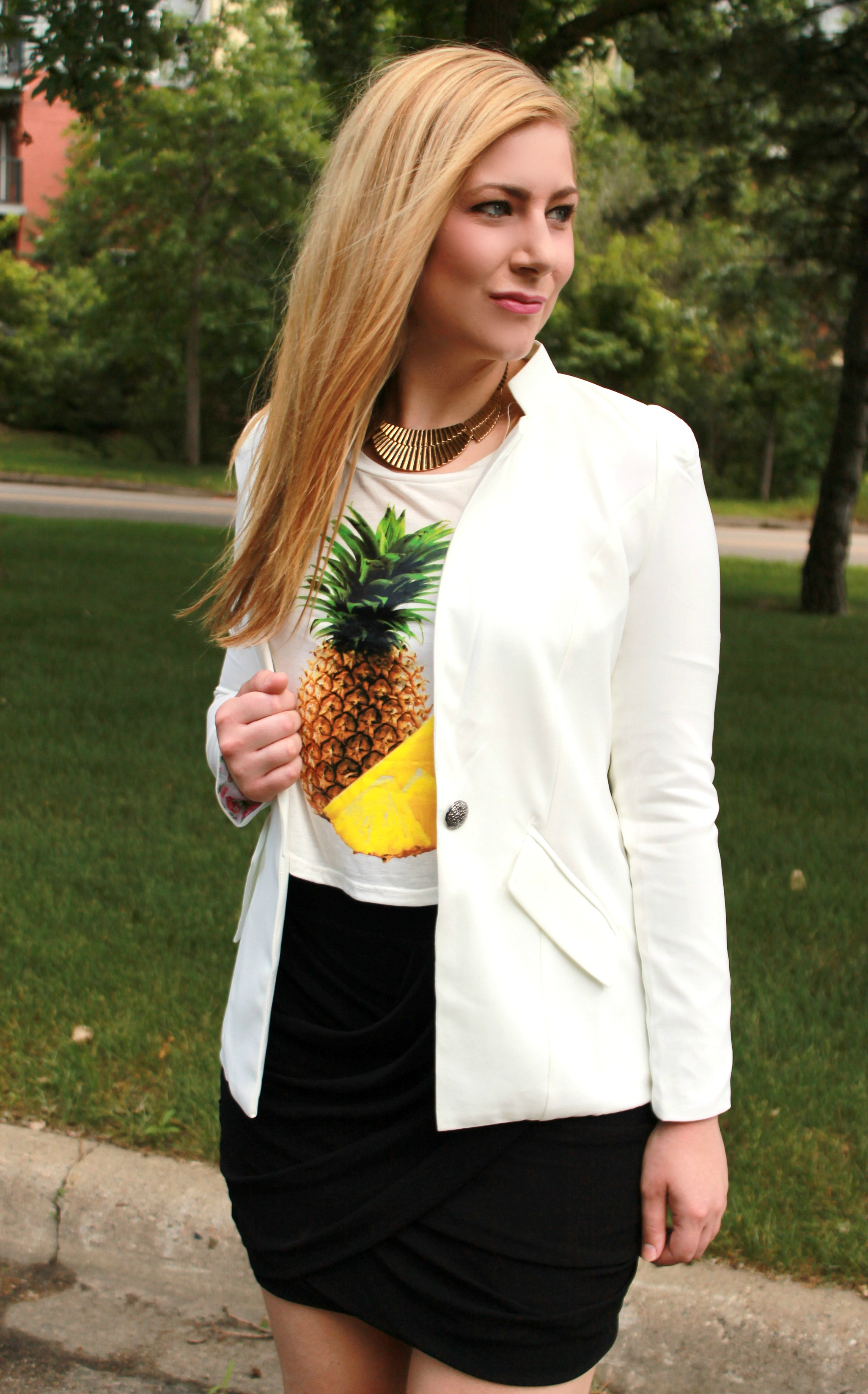 Pineapple print top + bandage skirt