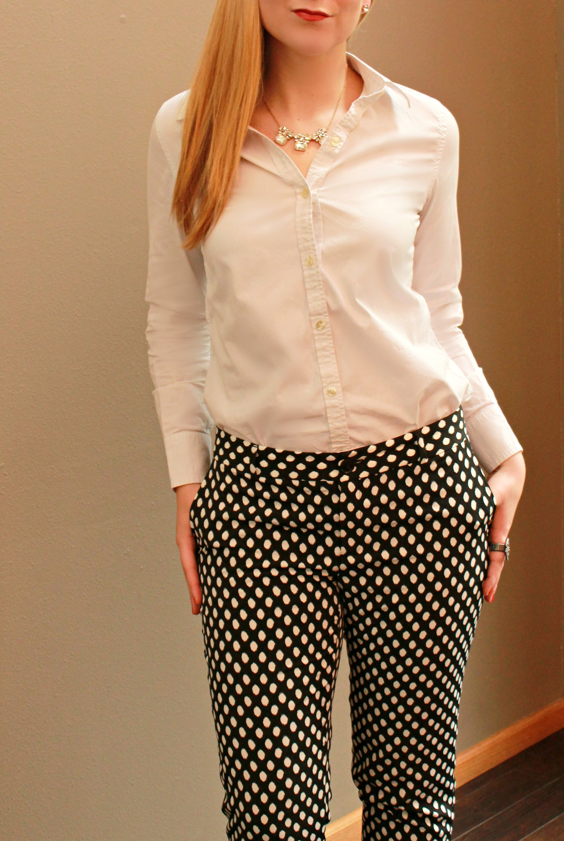 Printed pants + white button up