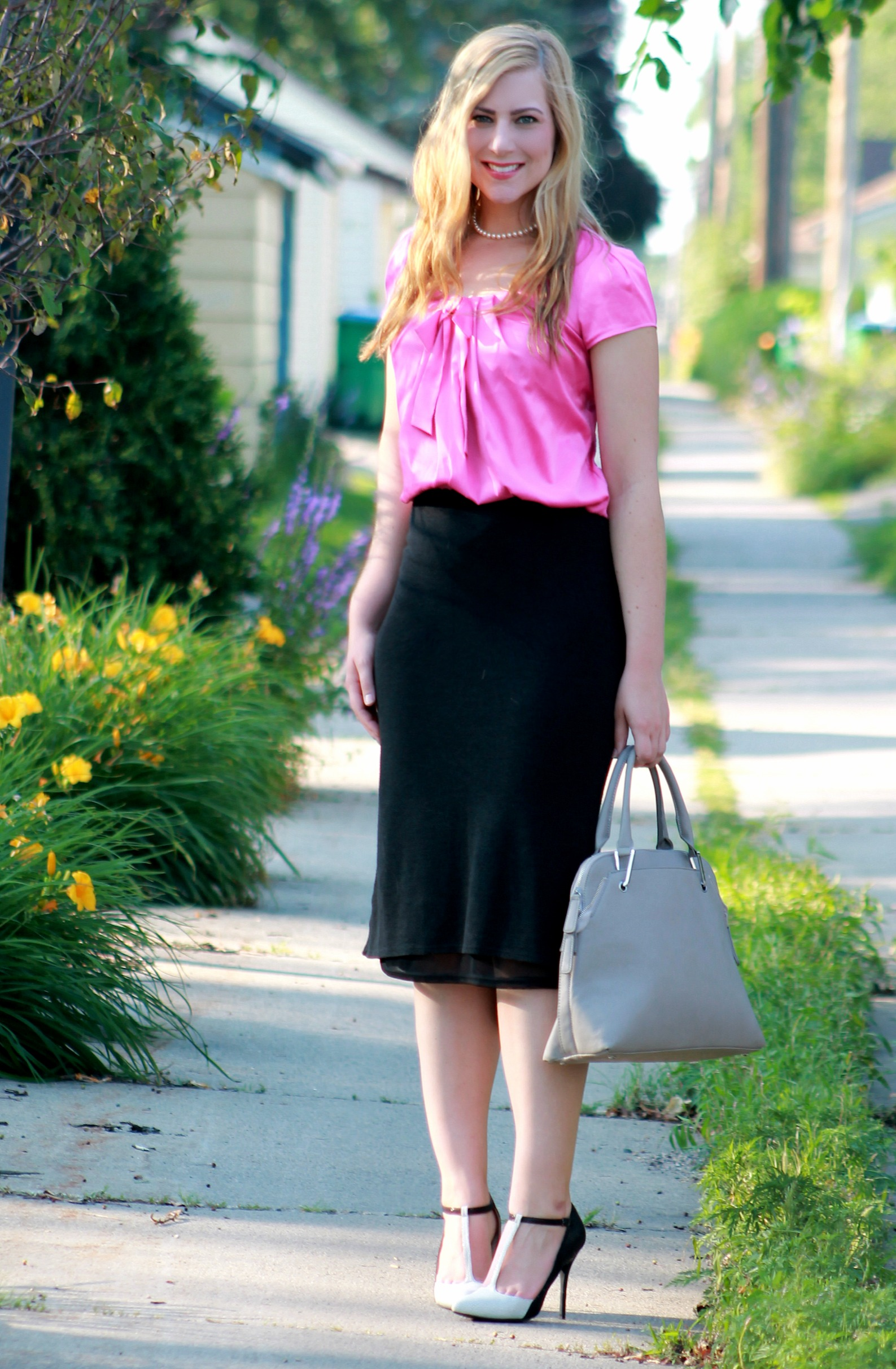 bow blouse + midi skirt
