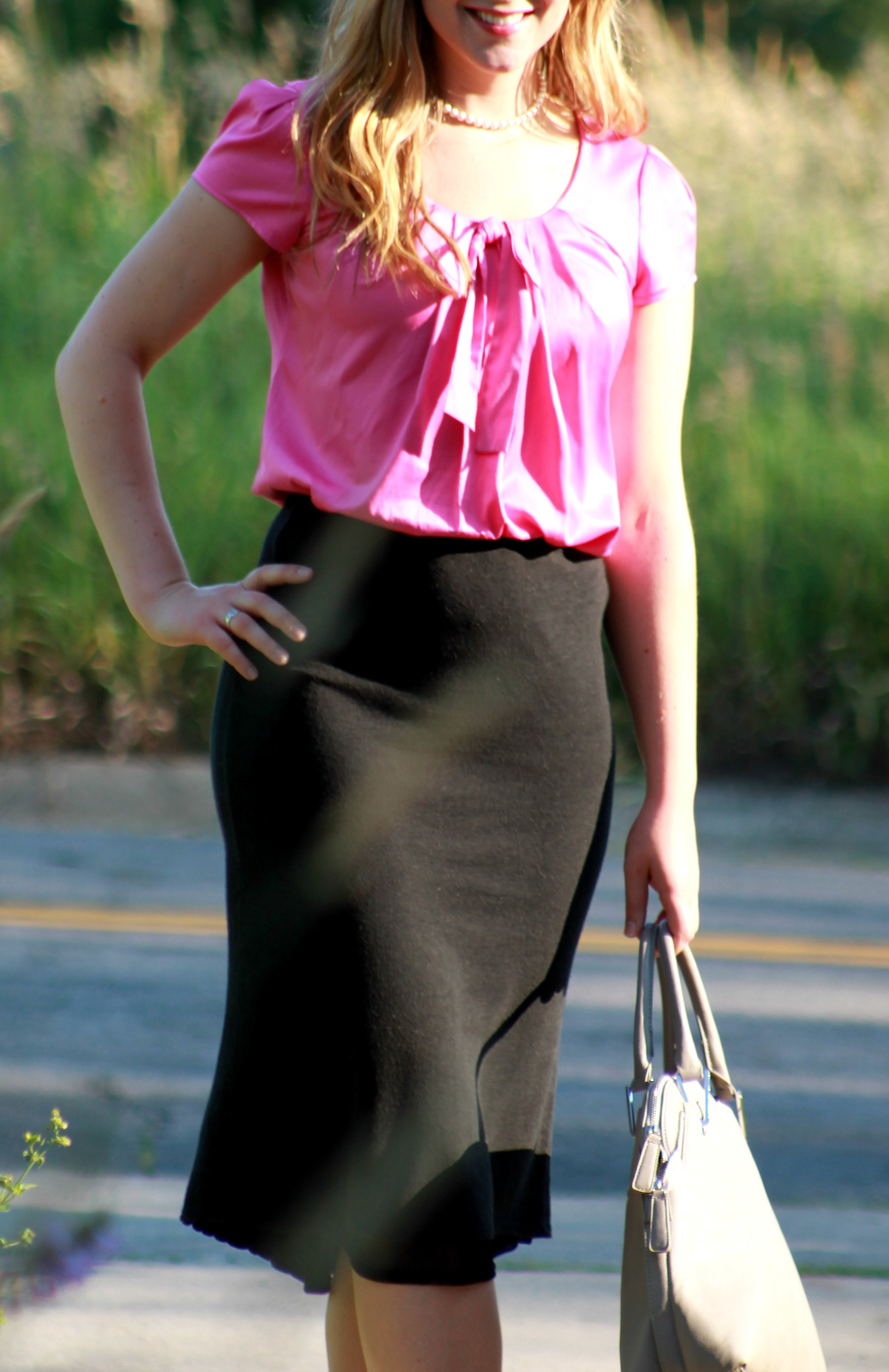 pink bow tie top + midi skirt