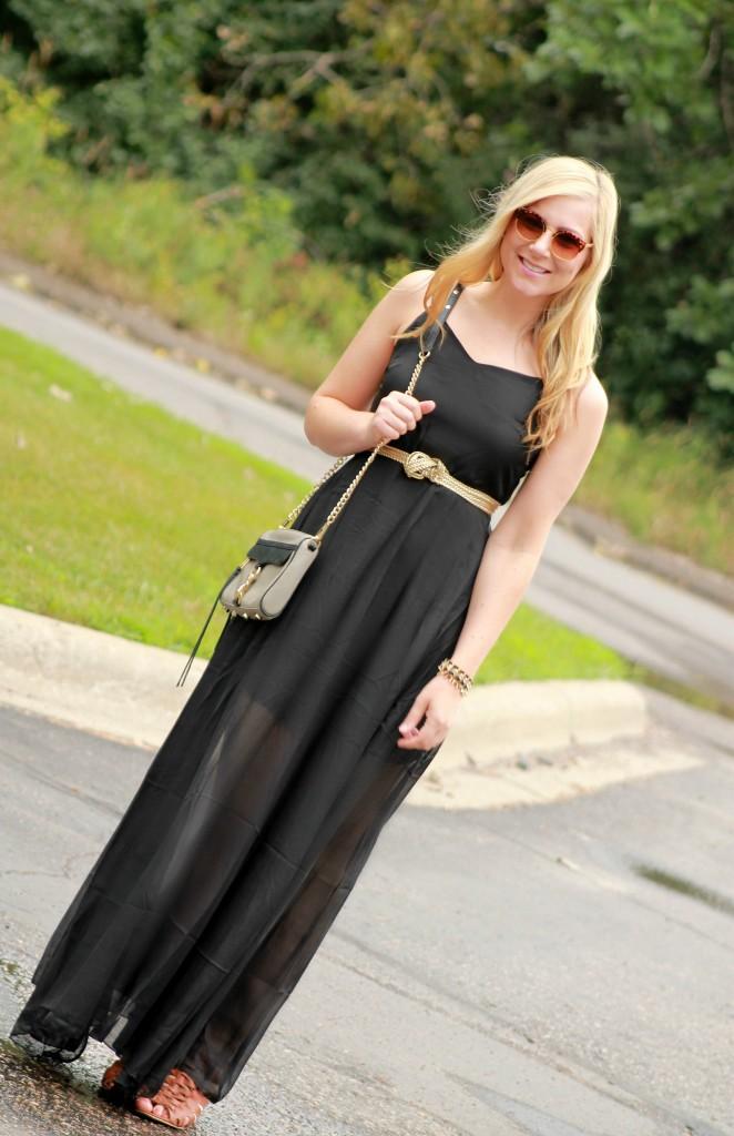 baxi maxi dress + vintage sunglasses