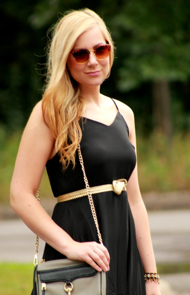 black maxi dress + vintage sunglasses