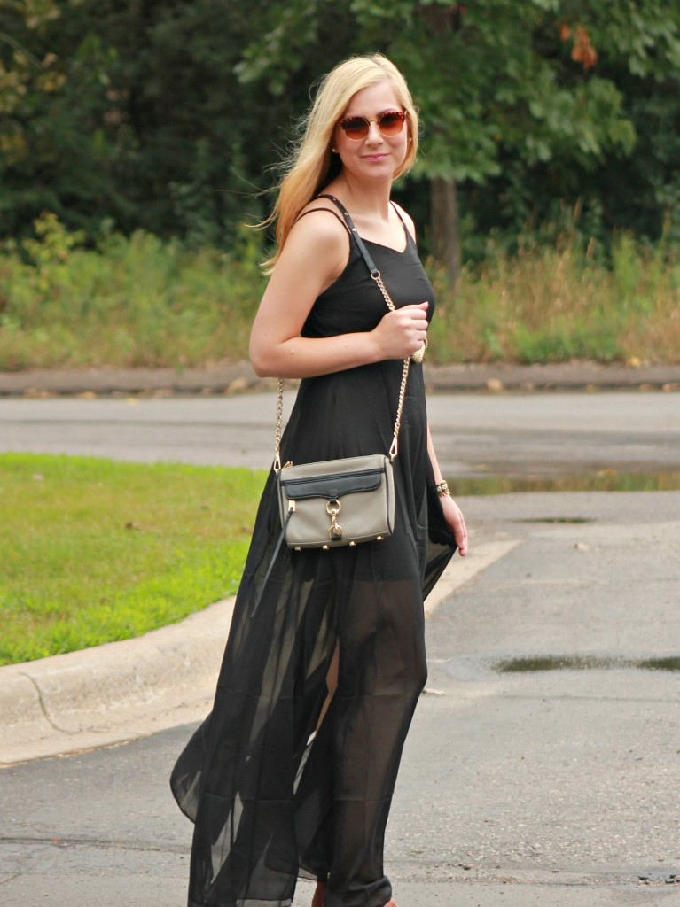 black maxi dress and rebecca minkoff mini mac