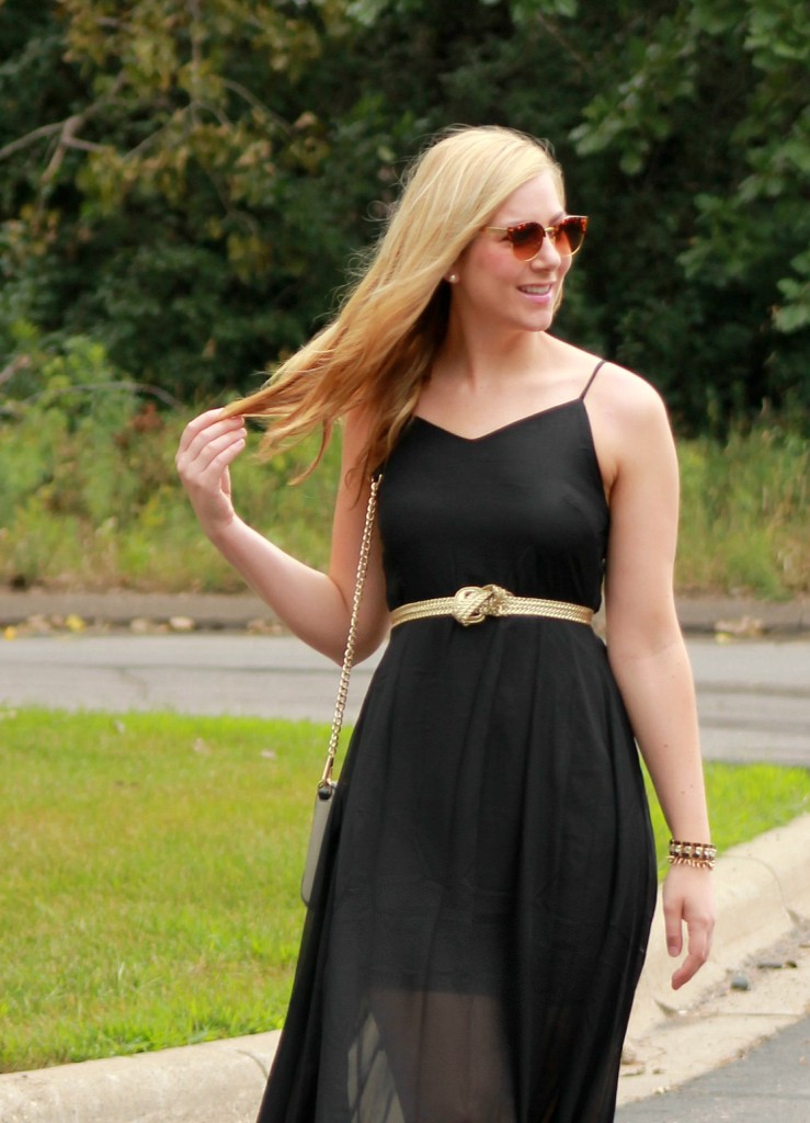 black maxi dress and vintage sunglasses