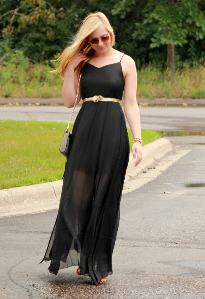 black maxi dress with gold belt