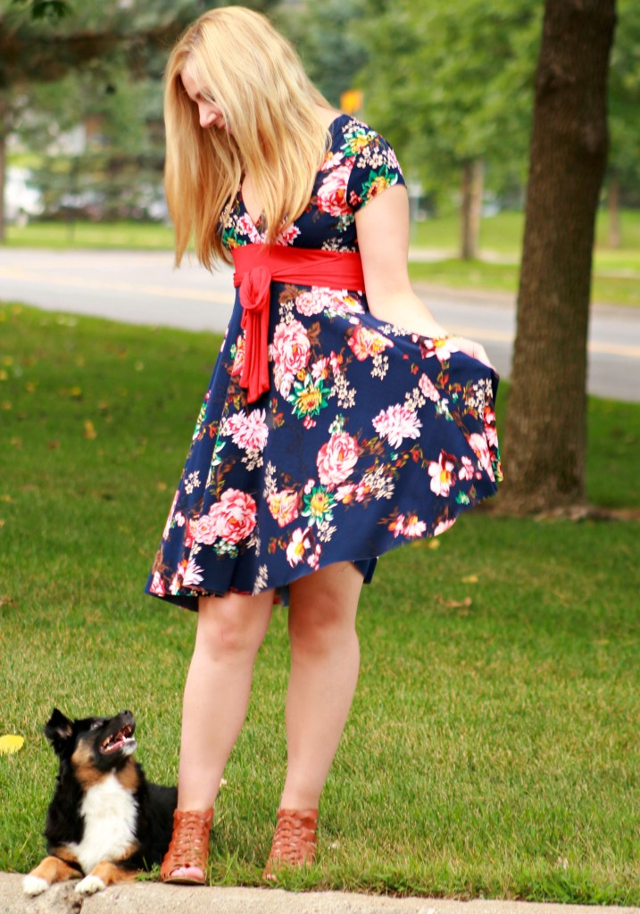 floral dress with red bow