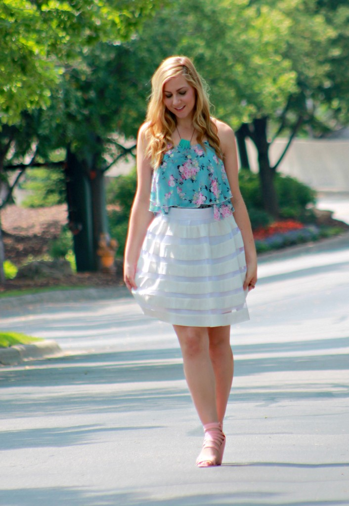 floral tank and white skater skirt