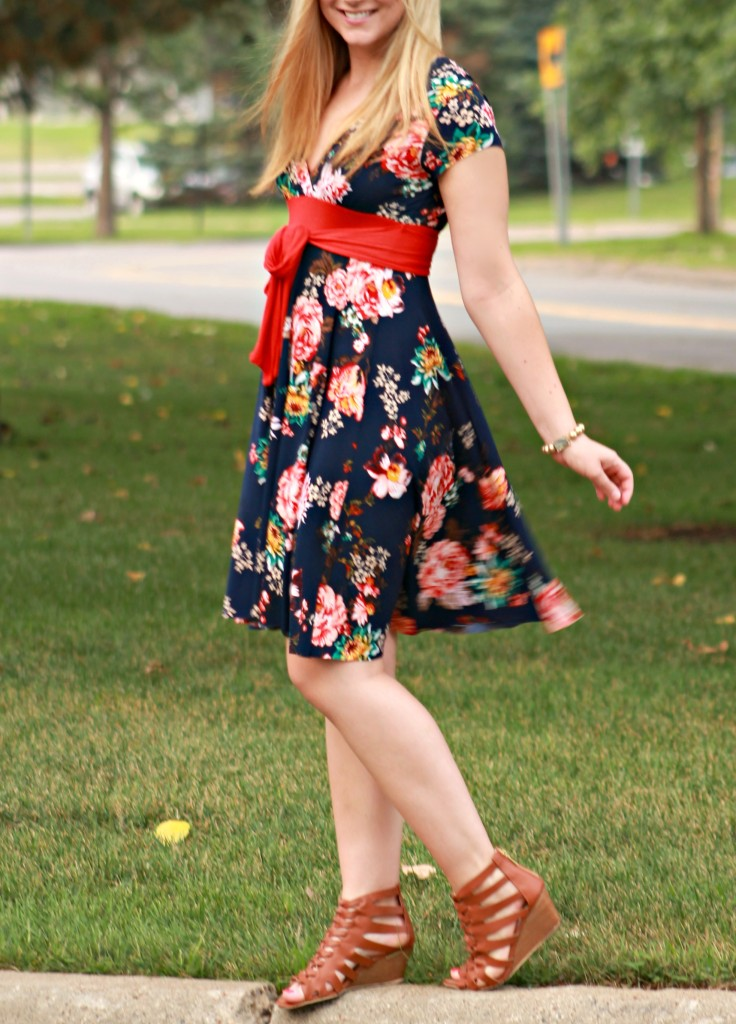 navy blue floral dress with red bow