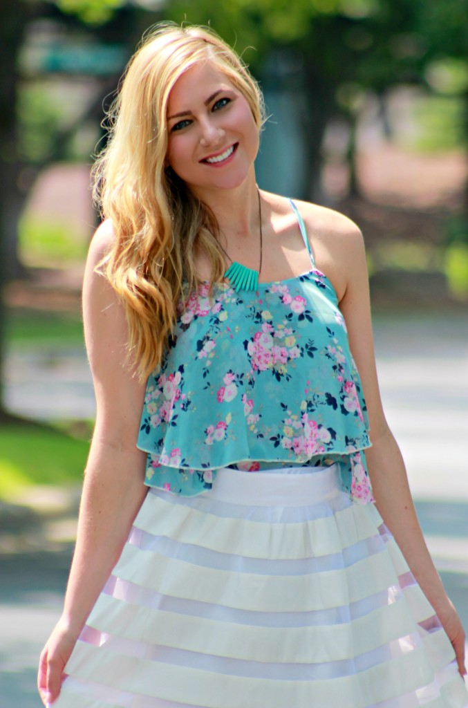 summer floral blouse and white skirt