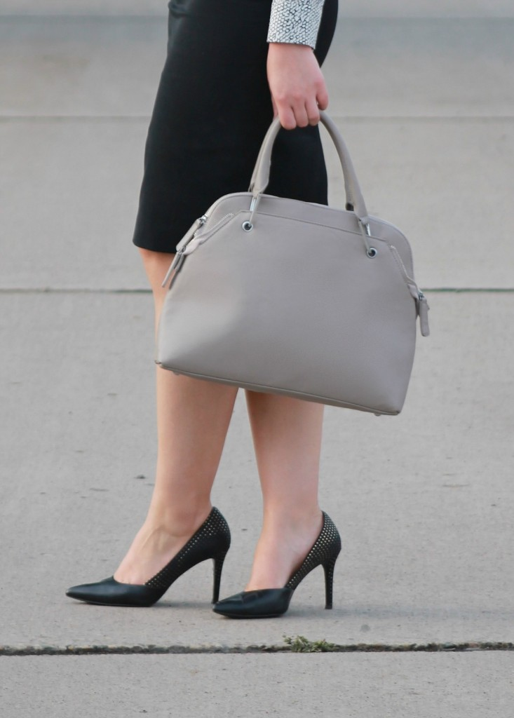 Black Heels and Gray Handbag