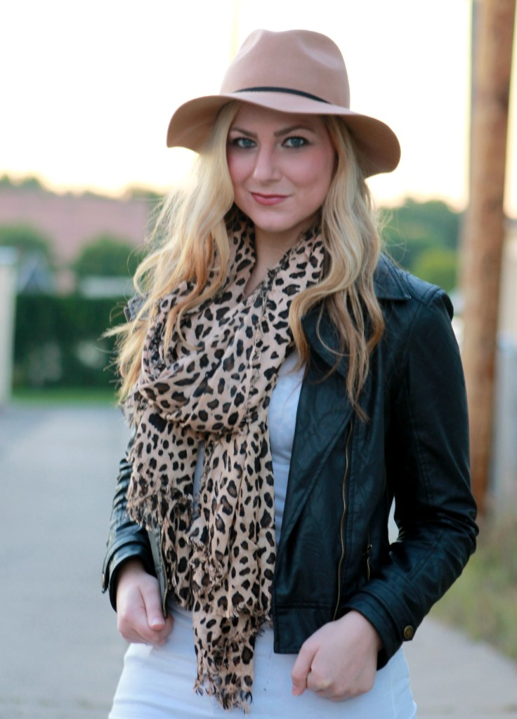 fall accessories felt fedora and leopard scarf
