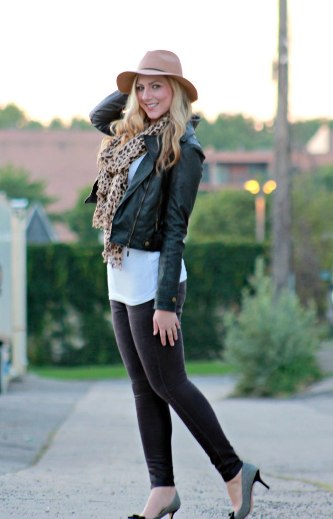 fall outfit leopard scarf + bow heels