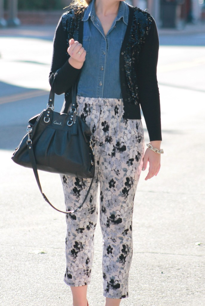 floral pants and sequin cardigan