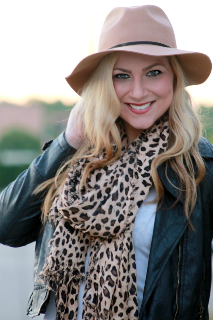 leopard scarf + leather jacket