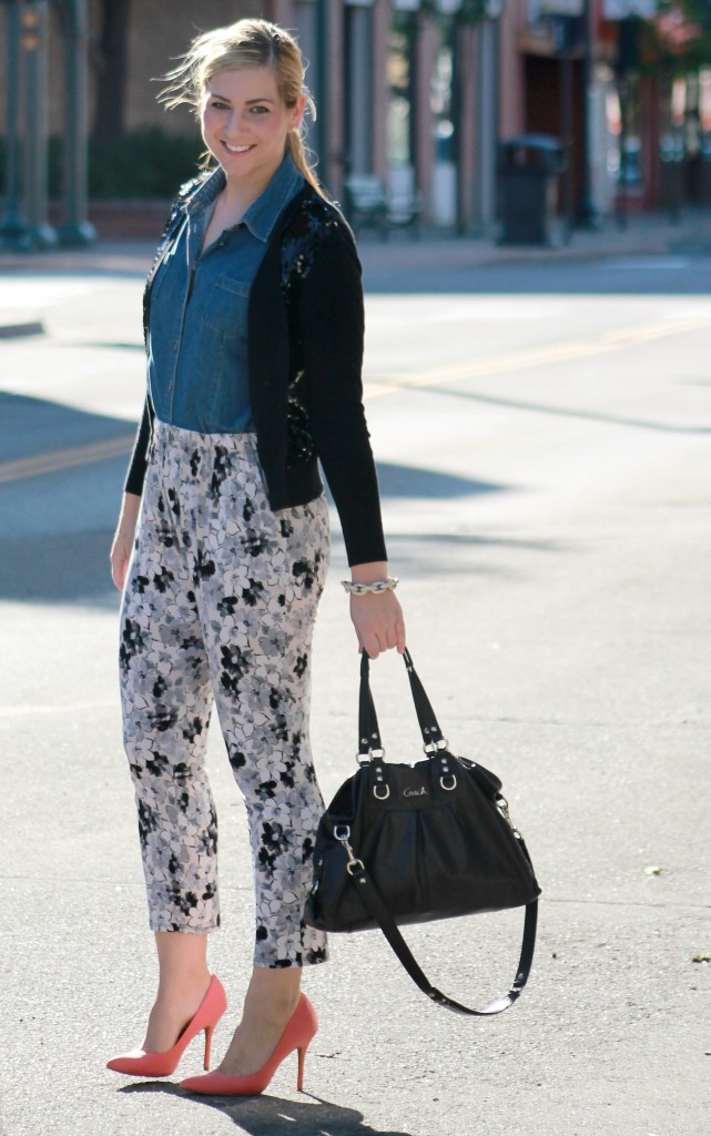 work style floral pants + chambray top + coral heels