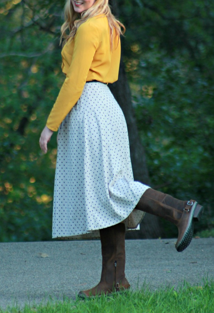 SOREL Slimboot boots, polka dot skirt and mustard yellow blouse