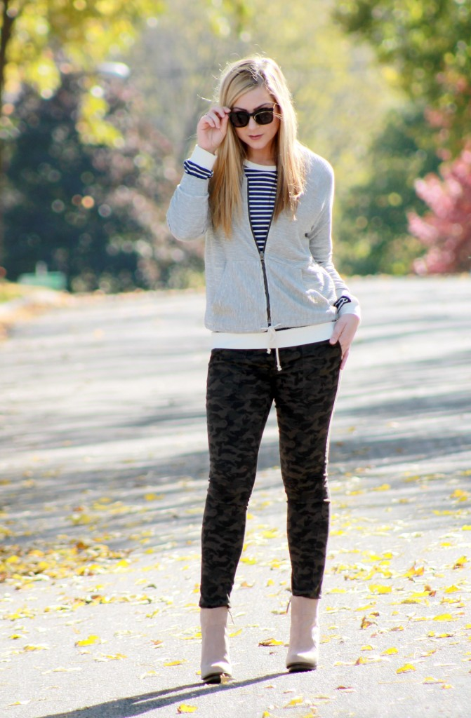 Striped top, bomber jacket and camo jeans
