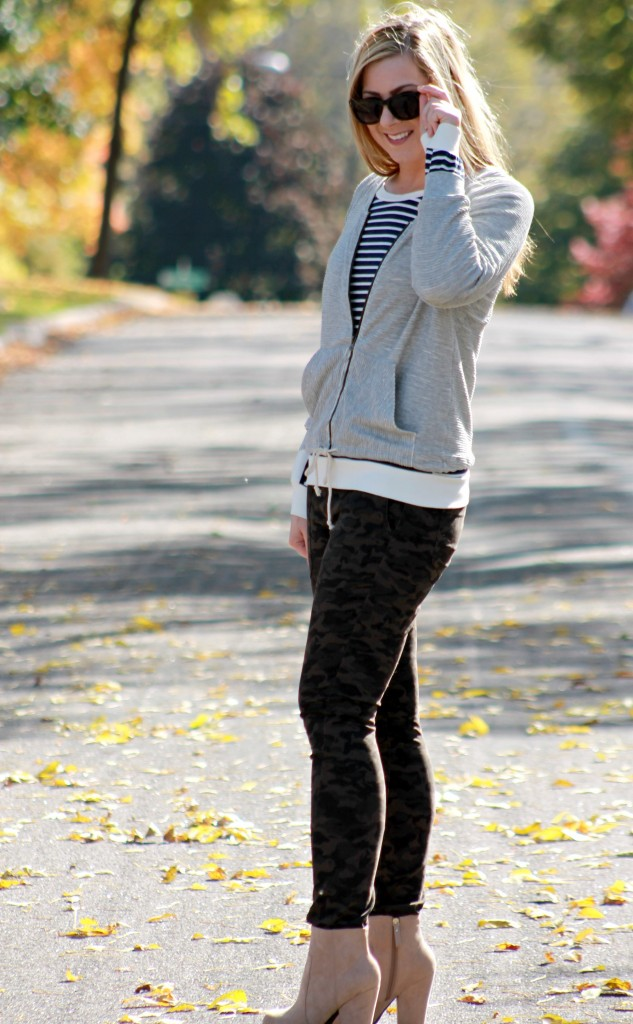 bomber jacket, striped top, camo jeans and beige booties