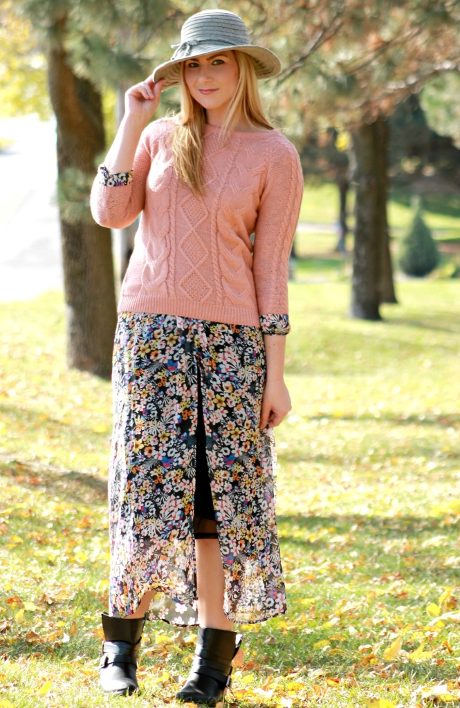 fall style with floppy hat