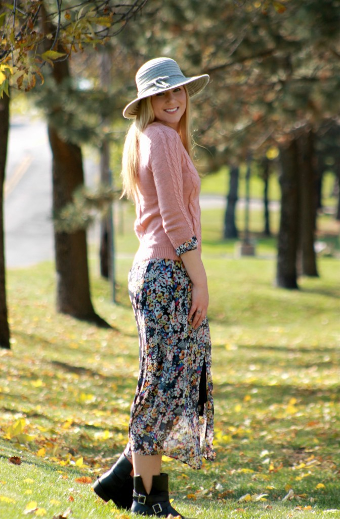 layering a sweater over a maxi dress
