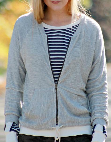 piperlime bomber jacket + striped shirt