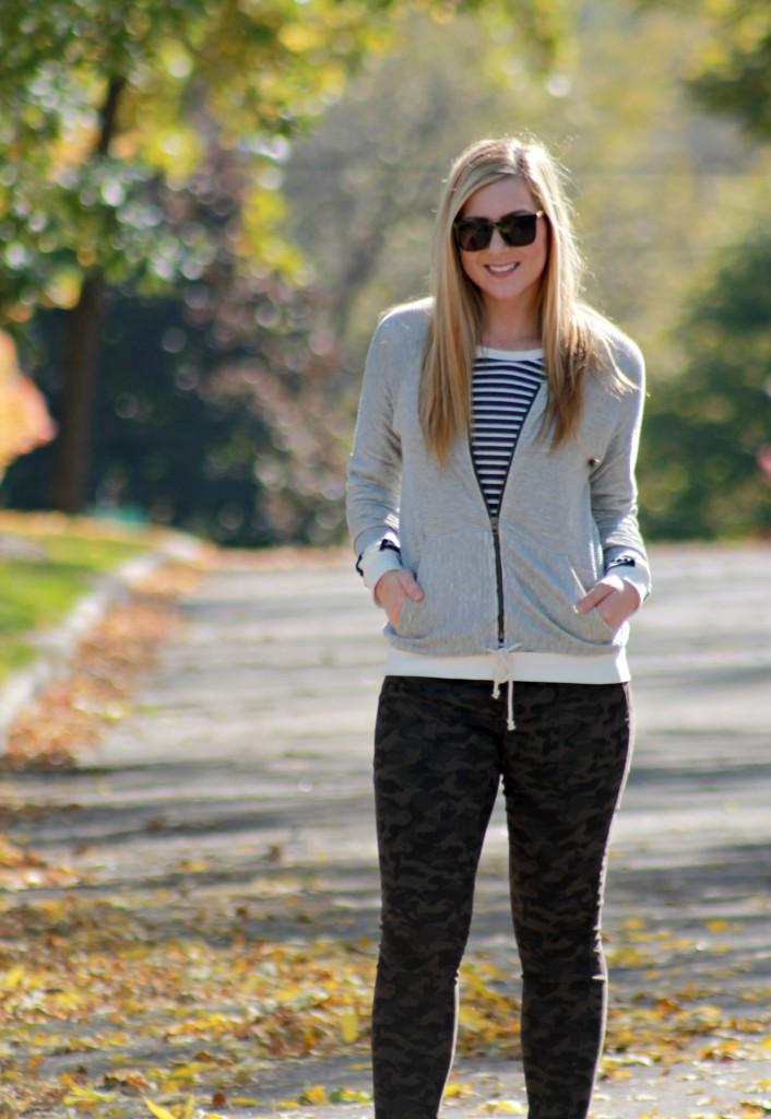 striped top + camo pants