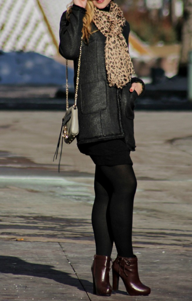 Black Dress, tights, booties, rebecca minkoff bag