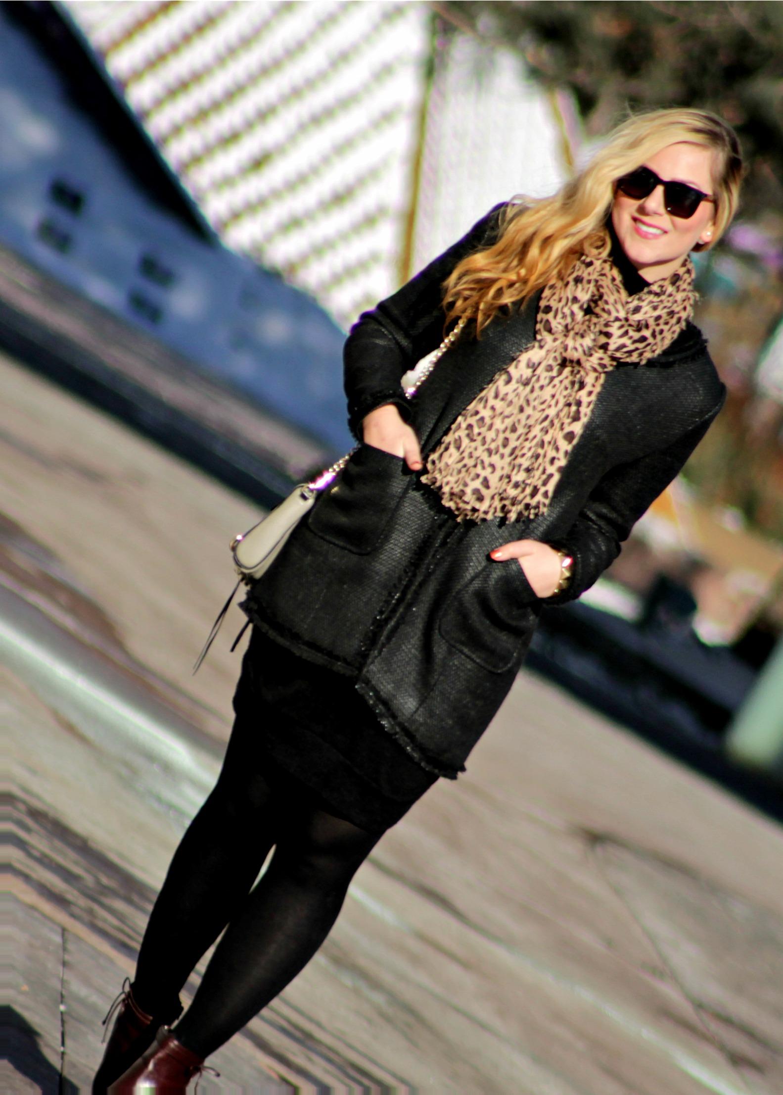Black tweed jacket, leopard scarf, sweater dress, booties