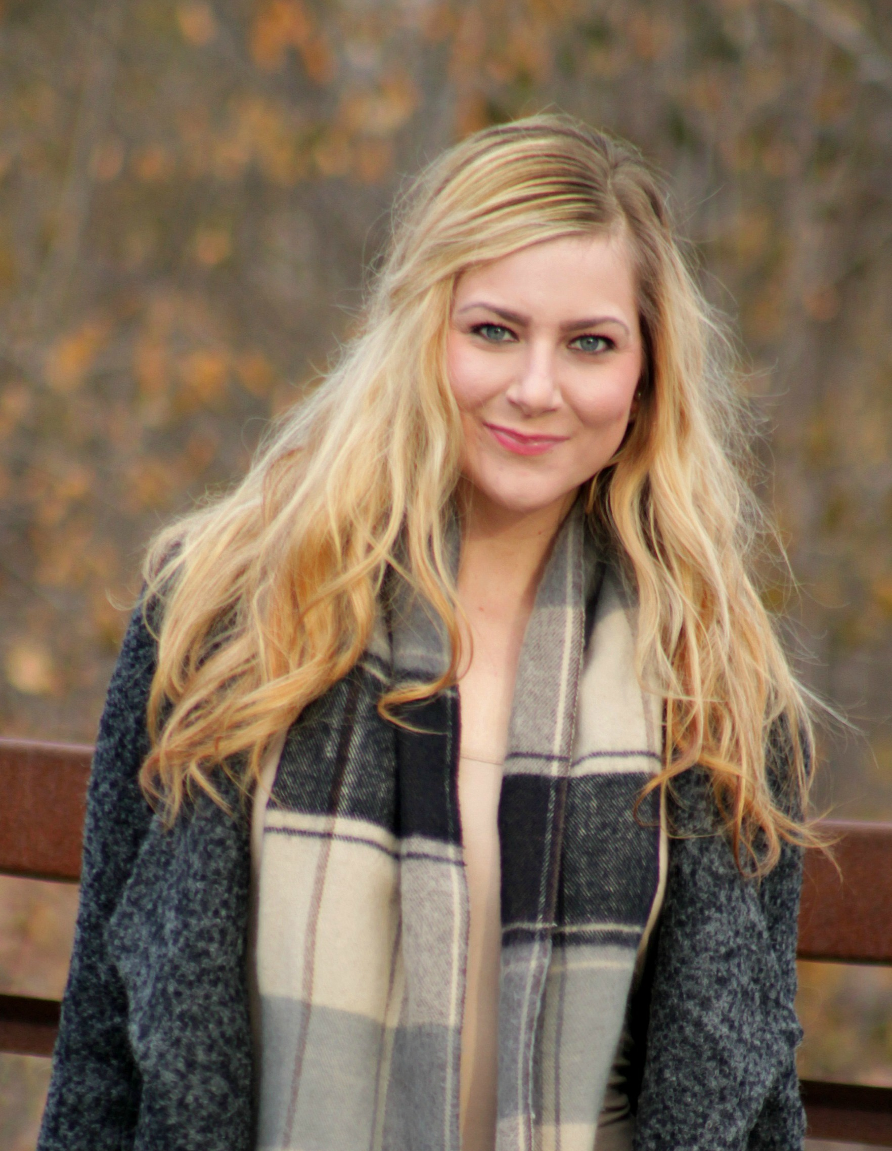 Oversized lapel tweed jacket + plaid scarf