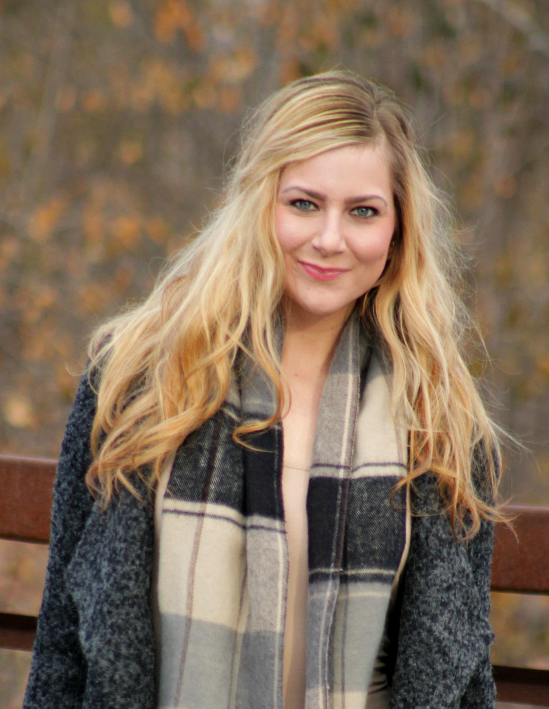 Oversized lapel tweed jacket + plaid scarf