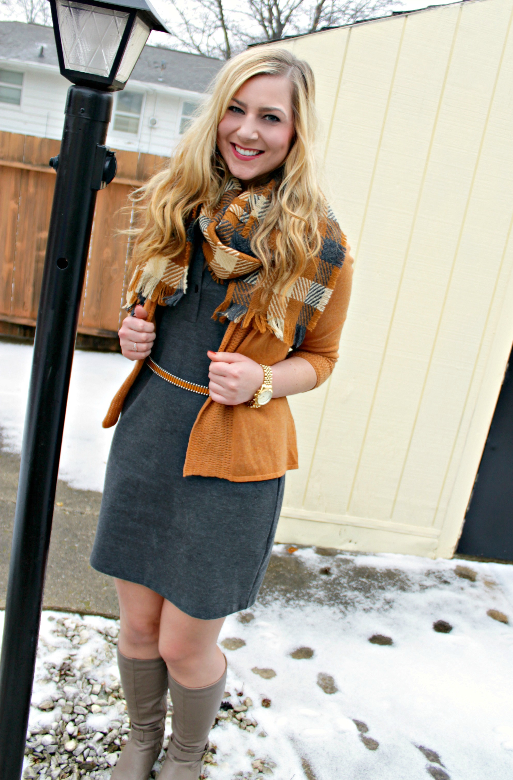 Thanksgiving outfit style Gray dress + scarf + boots + cardigan