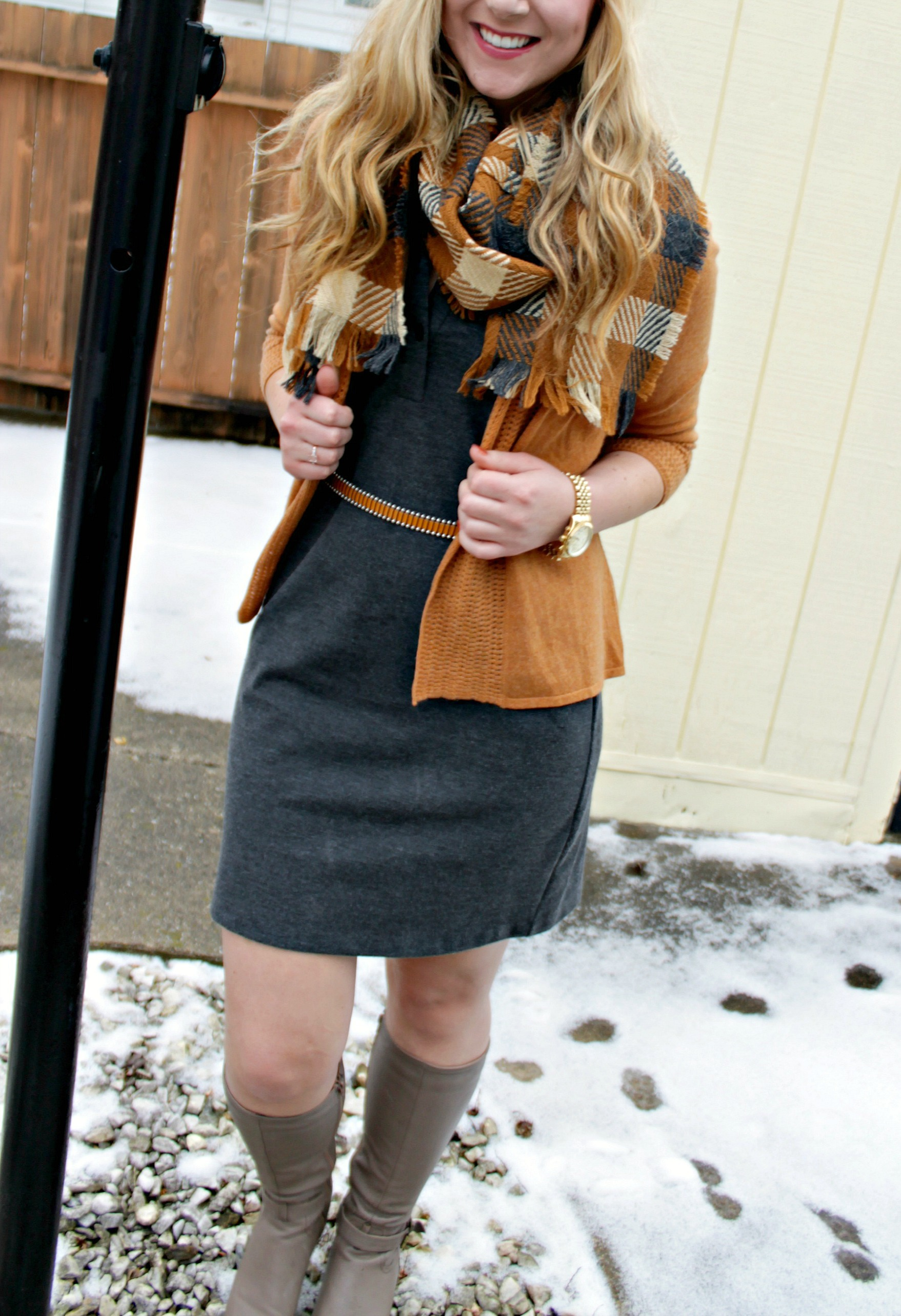Winter Style gray dress, cashmere cardigan, boots, checkered scarf, gold watch
