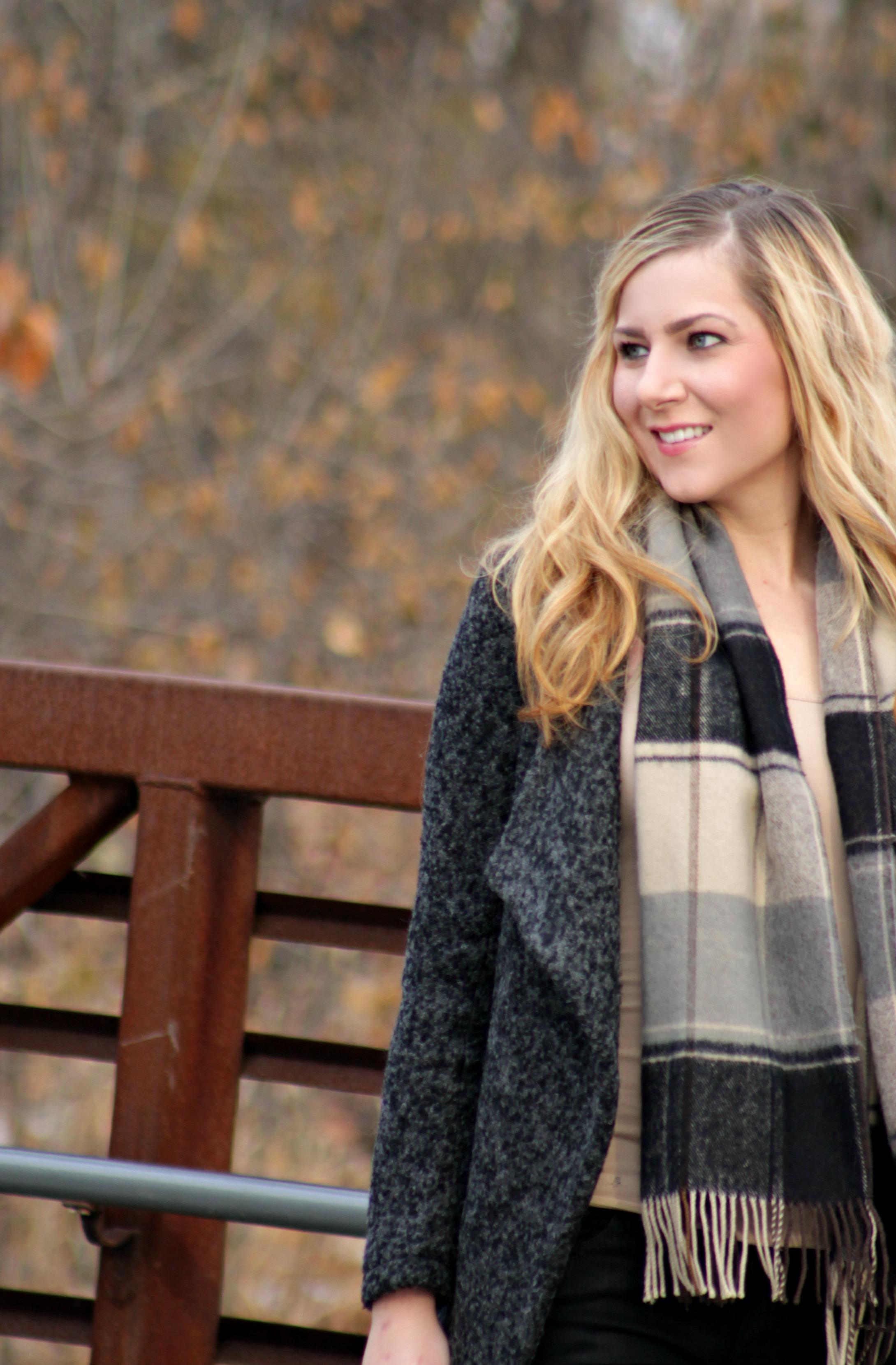 Winter Style tweed jacket, plaid scarf, tank top, coated denim