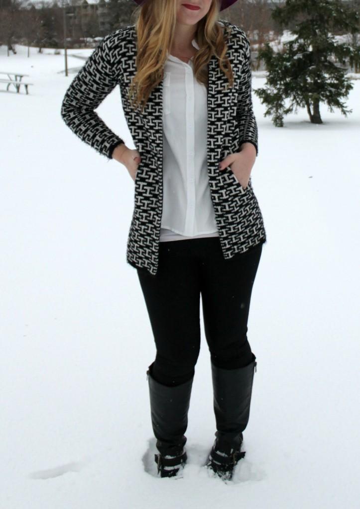 black + white jacket and leggings
