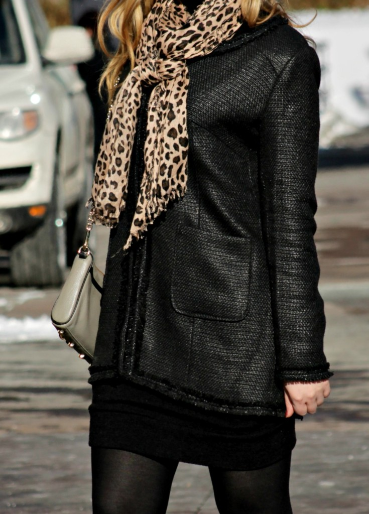 black jacket + leopard scarf