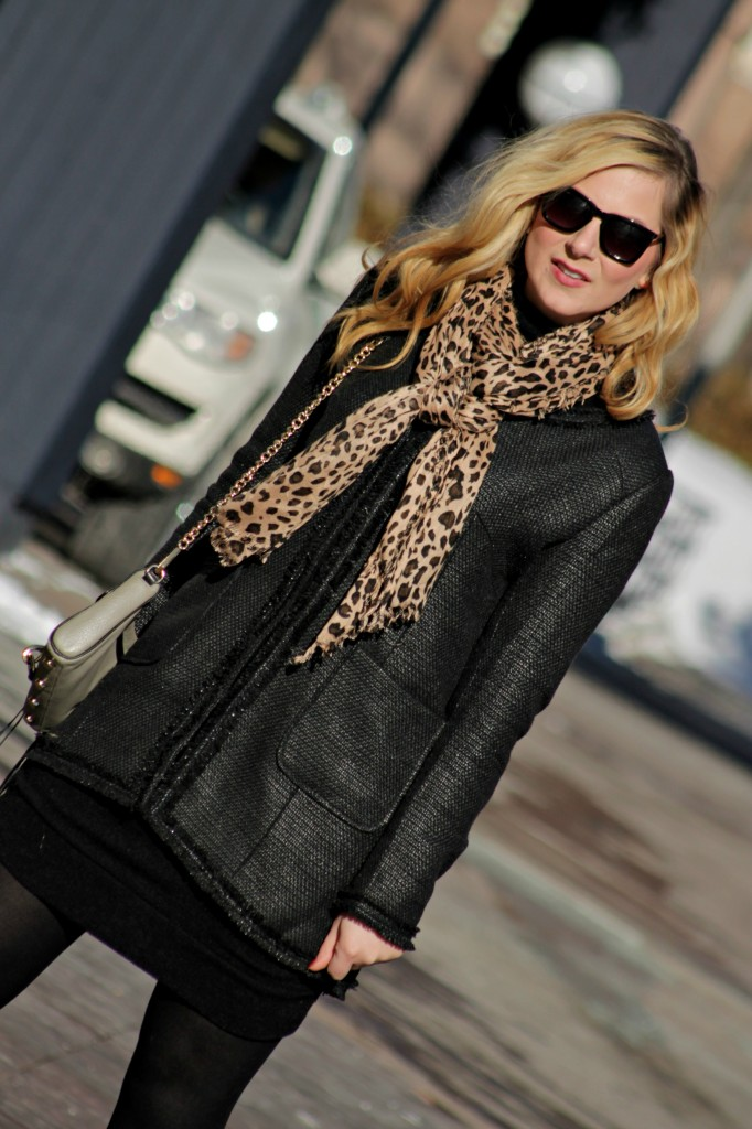 black sweater dress & leopard scarf