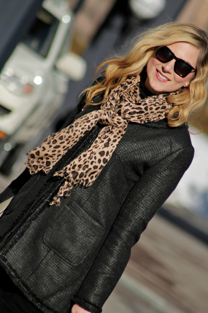 leopard scarf + black tweed jacket