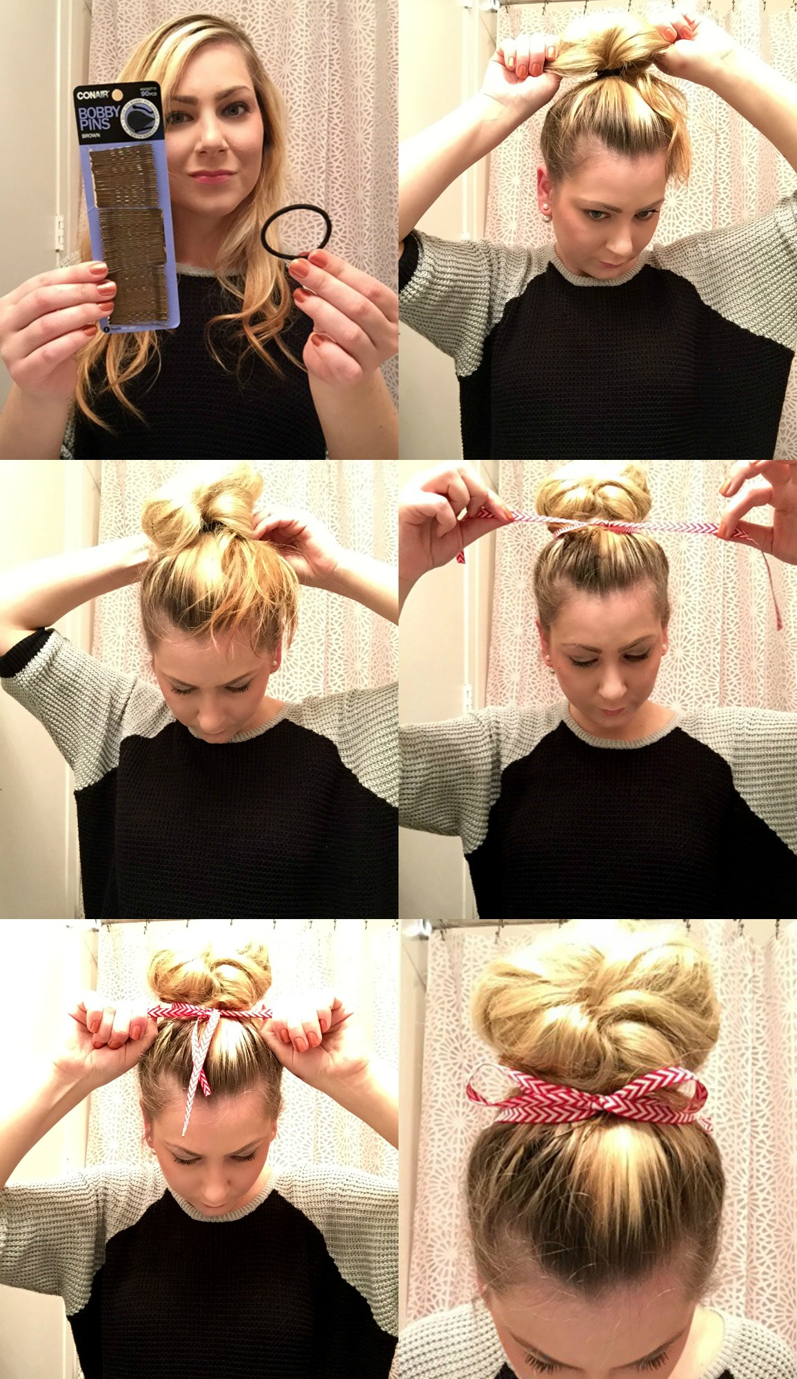 messy bun with red bow