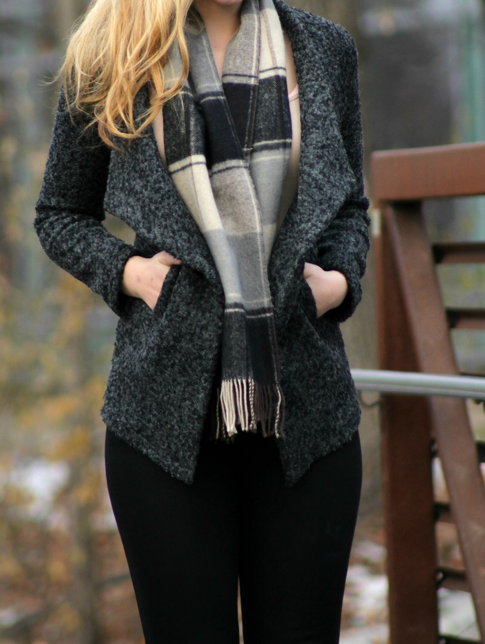 plaid scarf open face jacket and coated denim