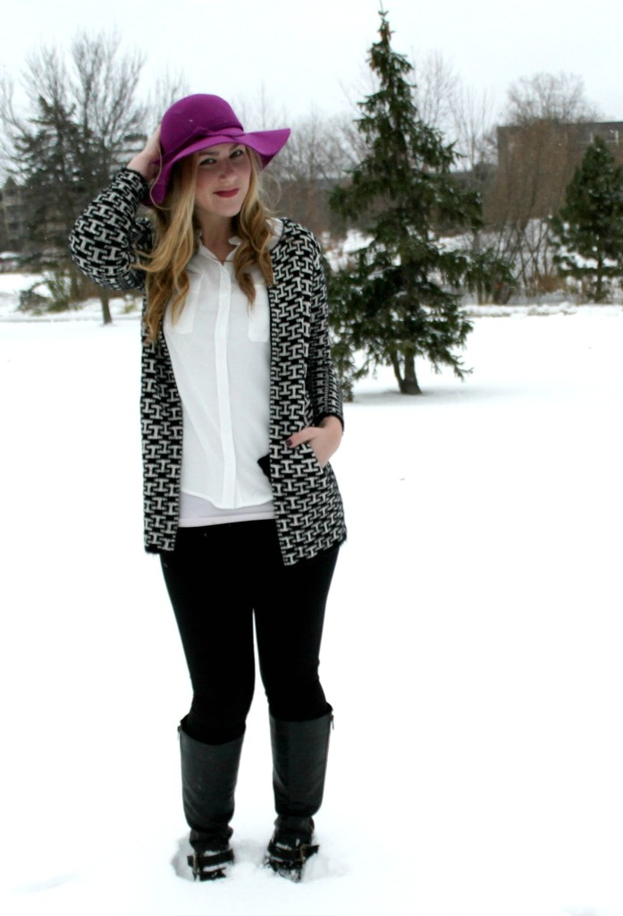 winter snow outfit floppy hat, black & white jacket, leggings and boots