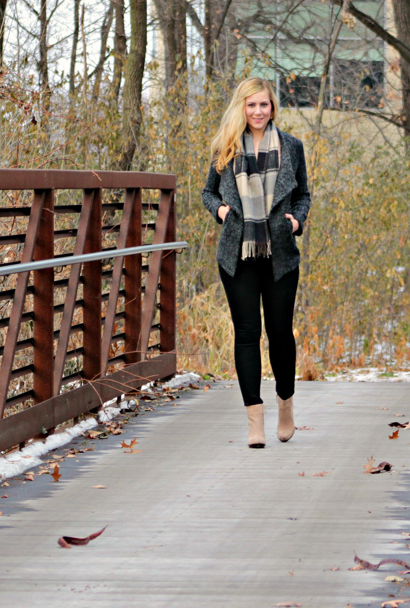 winter style oversized tweed coat, scarf, coated denim + booties