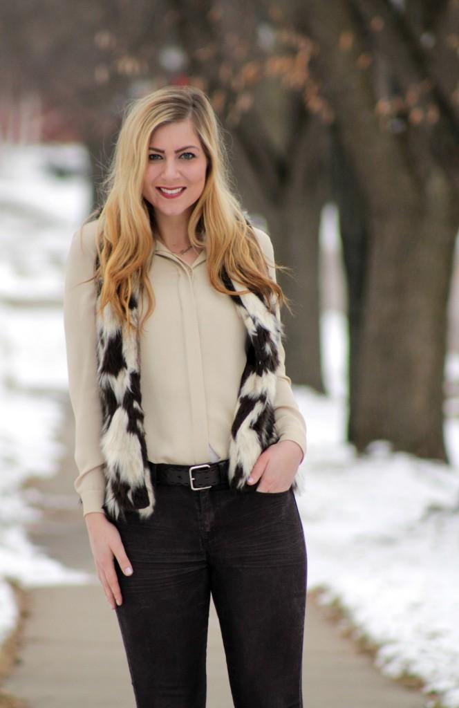 faux fur vest + beige blouse + coated denim