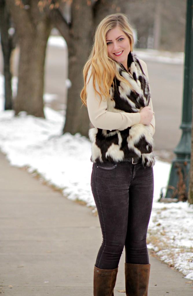 faux fur vest + denim + boots